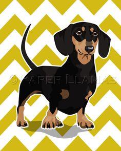 Dachshund Wiener Dog art print black and tan - custom dog wall art - chevron puppy pictures custom dog portrait art for boys. $15.00, via Etsy.