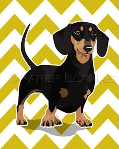 Dachshund Wiener Dog art print black and tan - custom dog wall art - chevron puppy pictures custom dog portrait art for boys. $15.00, via Etsy.