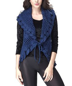 Love this Simply Couture Blue Wool-Blend Sweater Vest by Simply Couture on #zulily! #zulilyfinds