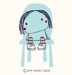 Girl in chair illustration