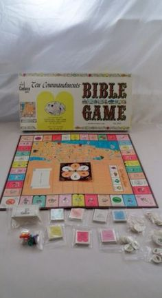 Clean-Complete-1966-Cadaco-Ten-Commandments-Bible-Board-Educational-Family-Game