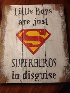 Little Boys Room Decor on Etsy, $45.00 (But I will make it so that I can make sure to spell superheroes right . . .)