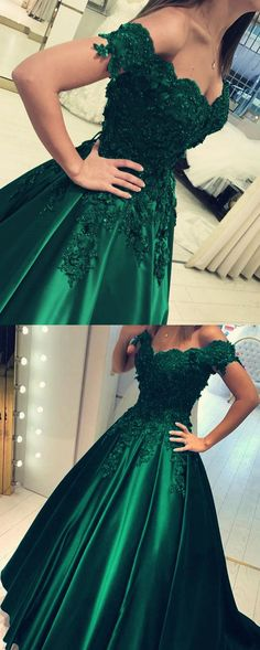 Off The Shoulder Green Prom Dress Ball Gowns Quinceanera Dresses on Luulla Dresses For Teens, Modest Dresses, Trendy Dresses, Fashion Dresses, Sports Dresses, Long Dresses, Dress Long, Elegant Dresses, Ball Gowns Prom