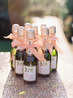 Champagne favors with custom labels!  See more: http://theeld.com/1yOdCxZ