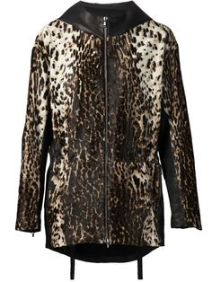 BAJA EAST leopard print parka - Multi calf hair leopard print parka from Baja East featuring a hood, a front zip fastening, side zipped pockets, moto leather insets and wool jersey lining.