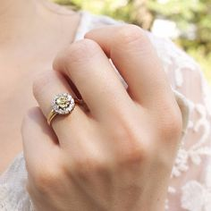 Victorian Vintage Cluster Yellow Diamond Engagement Ring