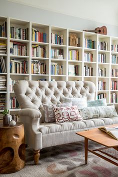 [Love the couch! The natural wood tables, too.]  Aubrie Pick Interiors - Aubrie Pick