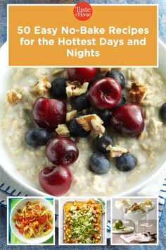 When the temperatures climb, skip the oven. These easy no-bake recipes let you have breakfast, lunch, dinner and dessert on the table in a snap—no oven required. Potluck Desserts, Make Ahead Desserts, No Bake Desserts, Easy Baking Recipes, Pie Recipes, Icebox Cake, Banana Cream, Most Popular Recipes, Banana Split