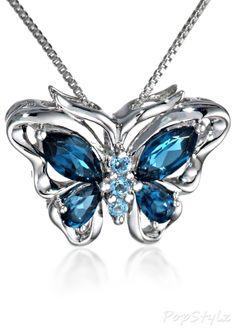 XPY Sterling Silver Topaz Butterfly Necklace