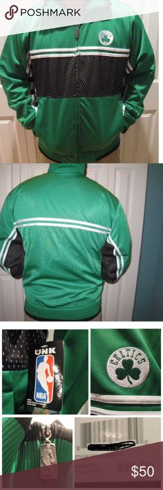 NWT BOSTON CELTICS Men's Jacket - M MSRP $90 NWT BOSTON CELTICS BASKETBALL Men's Track Jacket - M  MSRP: $90  Style:    Track Style Jacket Size:      L Detailed Description of Jacket:        	•	Green, Black & White Celtics Jacket - 100% polyester 	•	Made by UNK: Official NBA Licensed Product 	•	NBA Logo metal zipper pull 	•	Two front pockets 	•	Has Elastic sleeve ends & waist band with roll collar 	•	A Boxston Celtic's Shamrock logo on left side of jersey   Please Note:  I have 3 Large…