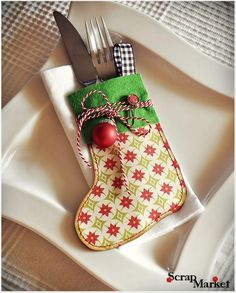 Cutlery holder - have done this in fabric - try decorative papers