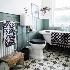 In love with this bathroom project from using our patterned Scintilla Tiles! Bathroom Design Software, Bathroom Tile Designs, Bathroom Layout, Bathroom Colors, Bathroom Ideas, Downstairs Bathroom, Washroom Design, Toilet Design, Bathroom Inspo