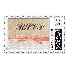 Rustic Burlap Lace Coral Ribbon Wedding RSVP Stamps