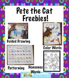 Pete the Cat Freebies:  Guided drawing, patterning, nonsense words, and color words worksheets!