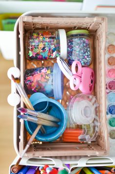 What we stock on our crafts supply caddy - from pipe gleaners to glitter. On the blog: forkandflower.com  #activities #kinder #aktivität #ikea #crafts #supply #storage #organisation #diy #kids #craftswithkids  #basteln #kinderbastelei #bastelei #malen #kinderzimmer #kidsroom  #craftscaddy #storagesolution #creative #ideas #drawing #creativity  #kreativität
