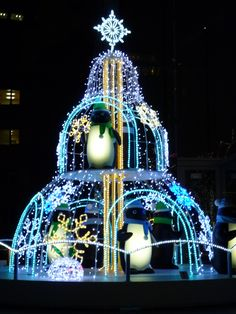 Penguin Christmas tree at Shinjuku, Tokyo!