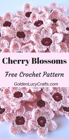 Crochet Cherry Blossoms, free crochet pattern, cherry blossom crochet, Spring crochet Celebrate Spring season with these beautiful crochet Cherry Blossoms! Easy and quick to make, and perfect for any Spring decoration! Beau Crochet, Crochet Mignon, Crochet Diy, Crochet Motifs, Love Crochet, Beautiful Crochet, Crochet Crafts, Single Crochet, Crochet Projects