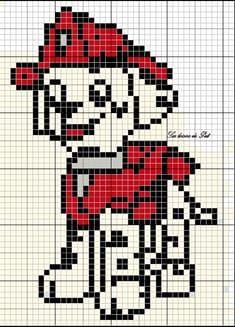 Suite à une demande et à mon article ici, je vous poste la grille de Marcus (Pat'patrouille). Elle fait :37 points de largeur et 56 points de hauteur N'hésitez pas à m'envoyer une photo de votre réalisation :) Le collier a brodé en jaune non en gris C2c Crochet, Crochet Diagram, Crochet Poncho, Sweater Knitting Patterns, Afghan Crochet Patterns, Baby Knitting, Paw Patrol, Cross Stitch Horse, Beaded Crafts