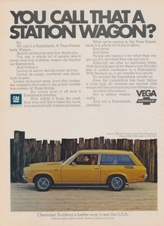 1972 Chevrolet Vega Kammback Station Wagon Car Ad Chevy Automobile Vintage Advertisement Photo Print, Wall Art Decor