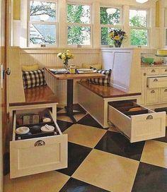 Under Bench Storage - Creative ways to gain extra storage space in your kitchen #kitchenstorage http://www.lvhomeexpert.com/6-creative-storage-solutions-for-your-kitchen