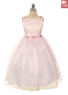 Pink Classical Satin with Organza Girl Dress