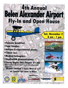 New event! Check out the 4th Annual Fly-In at Belen Alexander Airport on Saturday Nov. 2 complete with pancake breakfast and EAA - Young Eagles chapter #1306!  Will you be there? Let us know!  Got an upcoming GA event? Share it with us and tell our community about it! #FF #TGIF