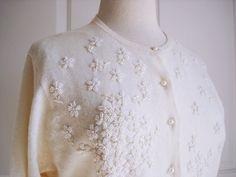 Vintage 60s beaded cream cardigan/ lambswool & rabbit fur