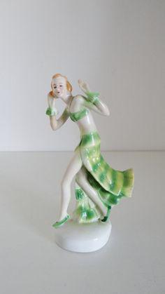 Vintage Art Deco Flapper Dancing Woman Figurine by crabtulip