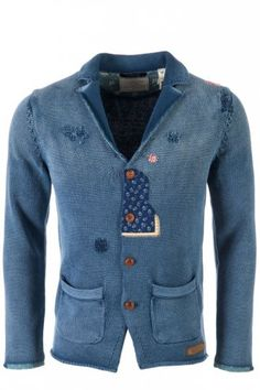 Scotch & Soda Patched Up Cardigan Blue