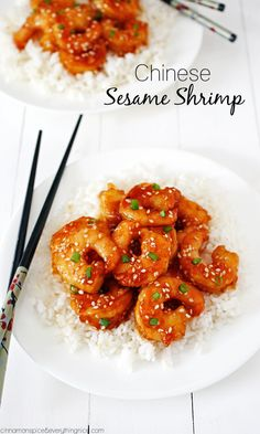 Chinese Sesame Shrimp | Easy sesame shrimp made in one skillet with a sticky-sweet, spicy sauce. Bye-bye Chinese takeout. {cinnamonspiceandeverythingnice.com}