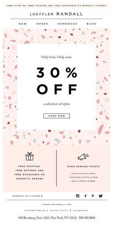 LOEFFLER RANDALL: E-mail Desconto %OFF #design #emailmarketing E-mail Marketing, Email Marketing Design, Digital Marketing, Email Template Design, Email Newsletter Design, Newsletter Ideas, Email Templates, Web Design, Layout Design