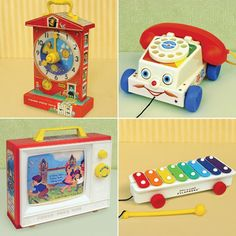 Aaaaah! It's that clock from the Fire Prevention Week film where everyone dies but the dog. Sent me into therapy, it did. Anyway. I had the clock, knew folks who had the phone and xylophone, and don't remember the TV.