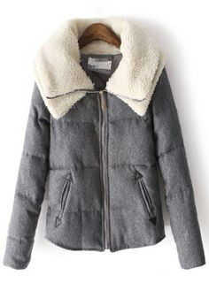 Dark Grey Double Layers Wool Lapel Long Sleeve Parka US$51.80