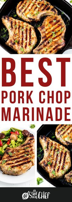 The Best Pork Chop Marinade is easy to make and perfect for any preparation of pork chops whether they are pan fried, baked, or grilled. #porkchopmarinade #marinaderecipe Healthy Salad Recipes, Yummy Recipes, Cooking Recipes, Pork Recipes For Dinner, Salmon Recipes, Best Pork Chop Marinade, Stay At Home Chef, Dinners To Make, Lunch Snacks
