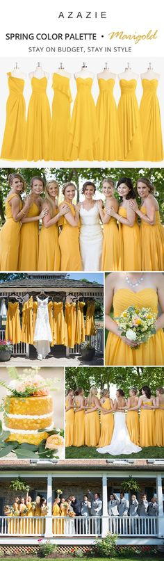 Dress your bridesmaids in this beautiful golden yellow! Available in sizes and free custom sizing! Yellow Wedding, Summer Wedding, Wedding Colors, Dream Wedding, Wedding Bridesmaids, Wedding Gowns, Yellow Bridesmaid Dresses, Gray Weddings, Wedding Wishes