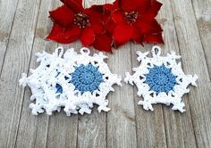 Crocheted Snowflake Ornament Set Blue and White Winter | Etsy