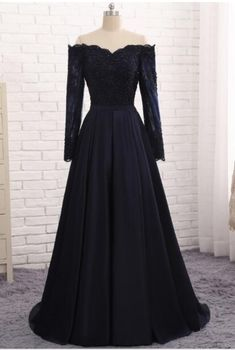 Long sleeve navy evening gown with satin dinner #prom #promdress #dress #eveningdress #evening #fashion #love #shopping #art #dress #women #mermaid #SEXY #SexyGirl #PromDresses