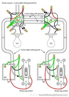 4 best images of residential wiring diagrams house electrical house exploded diagram two lights between 3 way switches with the power feed via one of the lights