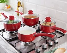3Piece Set Red Non-Stick Ceramic Saucepans With Tempered Glass Lids & Milk Pan