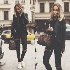 Guess? Jacket, Louis Vuitton Bag, Zara Jeans, Bershka Sneakers