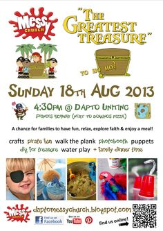 The Greatest Treasure messy church poster Kids Church, Church Ideas, Fun Walk, Walking The Plank, Buried Treasure, Water Play, Children And Family, Sunday School, Invitations