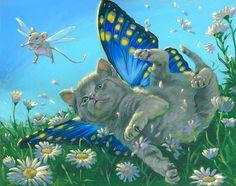 Crash Landing Illustrated 8 x 10 FAIRY CAT by ThePrancingPonyGifts
