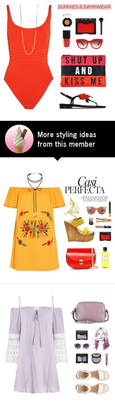 """""""We aren't supposed to beg for someone to stay. Even when the desire to beg floods your soul, it's not fair to beg for someone to love you."""" by are-you-with-me on Polyvore featuring Eres, Express, Gucci, Equipment, Pascale Lion, NARS Cosmetics, Oscar de la Renta and tarte"""