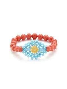 Miguel Ases  Pink & Blue Stretch Bracelet