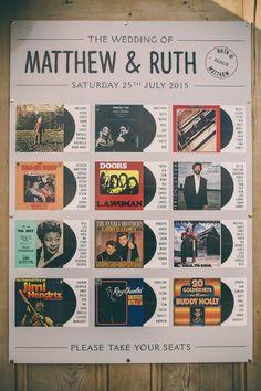 Vinyl Cover Table Plan | Laure de Sagazan | Rustic Wedding With A Music Theme | Green Bridesmaids Dresses | Neil Jackson Photographic | http://www.rockmywedding.co.uk/ruth-matt/