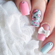 Mix and mach manicure with flowers and a bow ===== Check out my Etsy store for some nail art supplies https://www.etsy.com/shop/LaPalomaBoutique