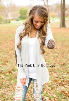 The Pink Lily Boutique - Sequin Sleeve Heather Grey Cardigan, $37.00 (http://thepinklilyboutique.com/sequin-sleeve-heather-grey-cardigan/)