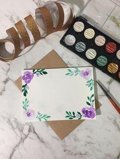 Personnalisable personnalisé carte de voeux - carte de voeux Floral aquarelle - fleurs violettes