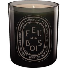 diptyque 'Feu de Bois' Scented Candle (125 AUD) ❤ liked on Polyvore featuring home, home decor, candles & candleholders, fillers, candles, accessories, black, no color, glass home decor and black home decor