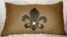 fleur de lis on burlap!   Thank you Peggy for doing one for all of us !